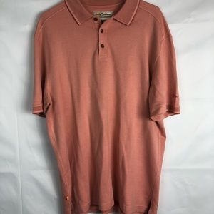 Tommy Bahama Peach Mens Large Button Polo Shirt